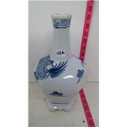 Indigo Blue on White Slip Porcelain Vase