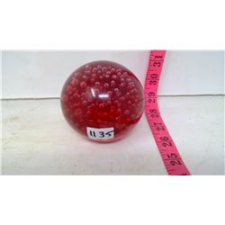Ornamental Red Crystal Ball Full of Bubbles
