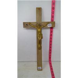 Crucifix - Maplewood Cross - Painted Cast Alloy - Jesus
