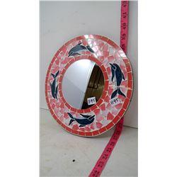 Dolphin Mosaic - Wall Mirror - Handmade