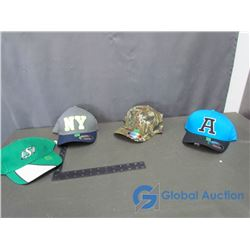 (4) Ball Caps -  A , Saskatchewan Roughriders,  NY  and M Crane L