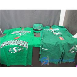 Saskatchewan Roughriders New (2) Pairs of Shorts, Ball Cap and (3) T-Shirts