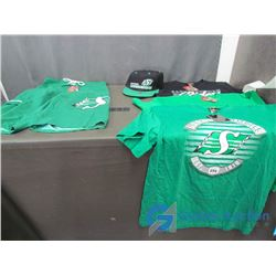 Saskatchewan Roughriders New Pair of Shorts, Ball Cap and (3) T-Shirts