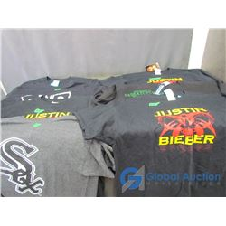 (7) T-Shirts, New: NWO, CM Punk, Chicago White Sox, U of S and (3) Justin Bieber