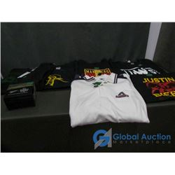 (7) T-Shirts, New: CM Punk, NOW, James Masters, Miller Beer 2017 World Series, U of S and (3) Justin