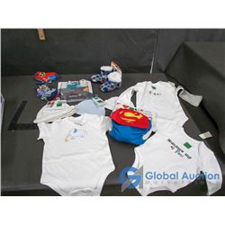 Baby Items - Sleepers, Caps, Socks, Slippers, Grooming Kit and Superman Cloth Diaper