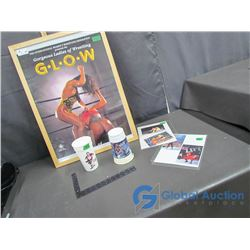 "Glow (Gorgeous Ladies of Wrestling) Framed Poster (19"" x 25"", WrestleManiaPhoto Cards and (2) WWF Pl"