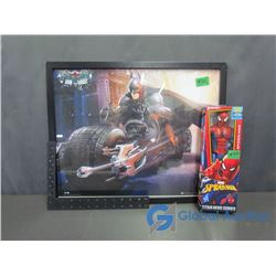 The Dark Knight Batman Framed Poster and Spider-Man Toy Figurine