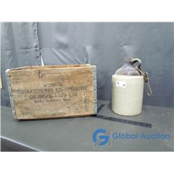 Stoneware Jug and Saskatchewan Swift Current Co-Operative Creamery Wood Crate