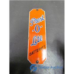 Prest-o-Lite Batteries Porcelain Sign