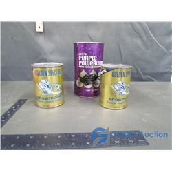 (2) Golden Spectro Snowmobile Cans w/Contents and Purple Powerlube