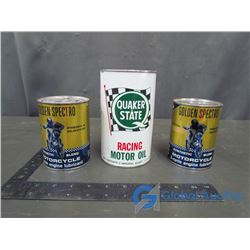 (2) Golden spectro Motorcycle Cans, Quaker State Racing Motor Oil