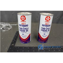 (2) Texaco 50-1 Outboard and Two Cycle Engine Oil Cans With Contents