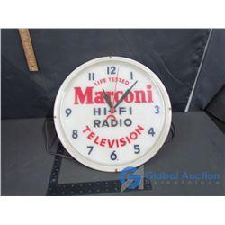 Life Tested Marconi Hi-Fi Radio Televison Wall Clock