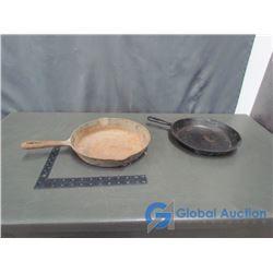 (2) Cast Iron Frying Pans
