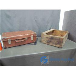 **Vintage Brown Suitcase & Wooden Linseed Oil Crate