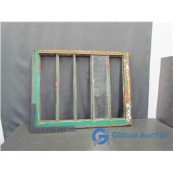 **5 Pane Wooden Storm Window - 23x30 Inches