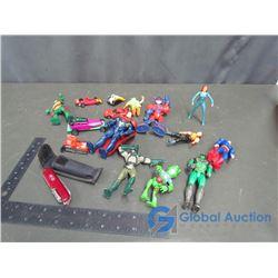 Assorted Super Hero Figurines, Cars, & a Pocket Knife