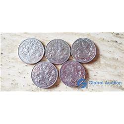 (5) Manitoba Canada Silver Dollars 1970