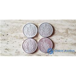 (4) Canada 50 Cent Coins (VG) 1964