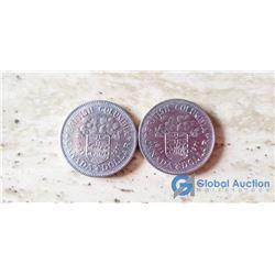 (2) BC Canada Silver Dollars 1871-1971
