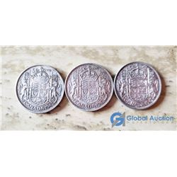 (3) Canada 50 Cent Coins (VG) 1943