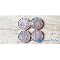 (4) Canada 50 Cent Coins (VG) 1956, 1958, 1959