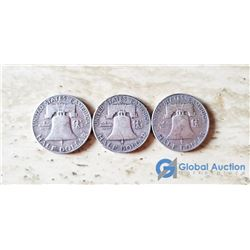 (3) US Liberty 50 Cent Coins (VG) 1952, 1959, 1953