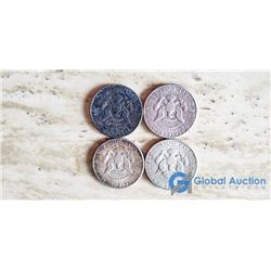 (4) US Kennedy 50 Cent Coins 1964