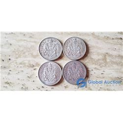 (4) Canada 50 Cent Coins (VG) 1961, 1962, 1963