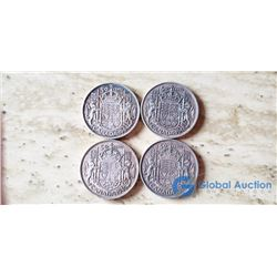 (4) Canada 50 Cent Coins 1940, 1942, 1944, 1949