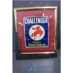 Vintage Framed Paper Challenger Vegetables Sign