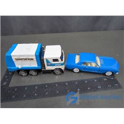 Buddy L Sanitation Mack Truck and Majorette Mustang 65 Scal 1/32
