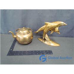 Brass Tea Pot and Dolphin