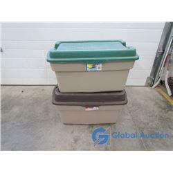 **(2) Plastic Storage Tubs