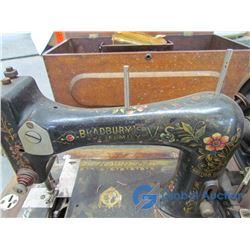 **Bradbury's Family VS Sewing Machine in Wood Case w/ Accessories & Manual