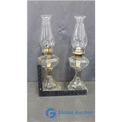 (2) Glass Oil Lamps