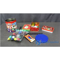 (3) Tin w/Contents (Jello Wheels & String Lights)