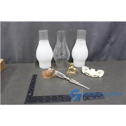 (3) Glass Oil Lamp Shades & Decor
