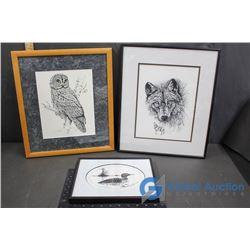 (3) Framed Animal Pictures