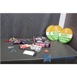Nose and Mouth Display, Felt Banners, Police Patch, SGI Paper Signs, & Assorted
