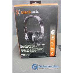 BlackWeb Active Noise Cancelling Wireless Over Ear Headphones in Box