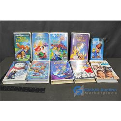 (10) Kid VHS Tapes - Disney, Warner Bros.