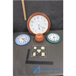 (3) Wall Clocks, Picture Frame and Handarbeit Pottery Bowl with Lid