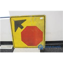 **Vintage Laminated Plywood Upcoming Stop Sign