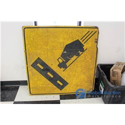 ** Vintage Laminated Plywood Truck Crossing Sign