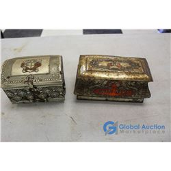 (2) Ornate Tins & Contents