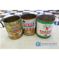 (3) Antifreeze Tins - IH, Castrol, & Texaco