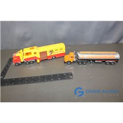 (2) Gulf and Rodeo Texas Toy Semis