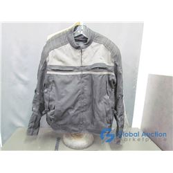 Mens Motorcyle Jacket, XL, Black/Grey